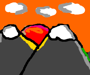 sun rising over mountains (i dont know)