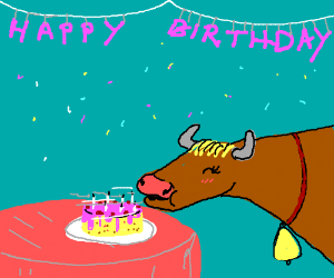 Cow blowing out her birthday candles!