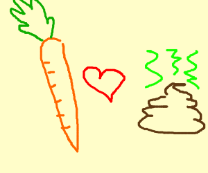 Carrot is in love with the poop <3