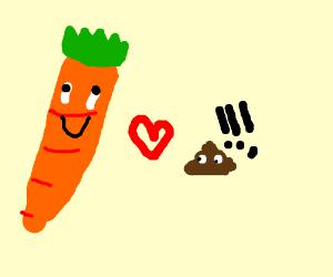 Carrot loves poop, Poop scared.