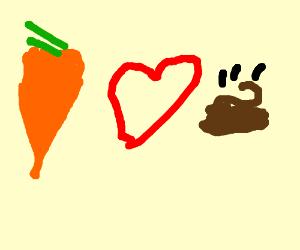carrot loves poop