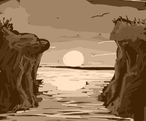 The sun rises between two cliffs over the lake