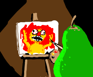 Pear makes a painting of Yellmo's face.