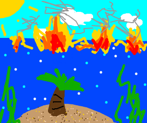 underwater island with a fire over the water??