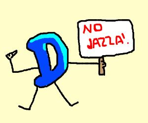 Drawception guy with sign NO JAZZA