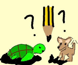 dog and turtle are confused at pencil