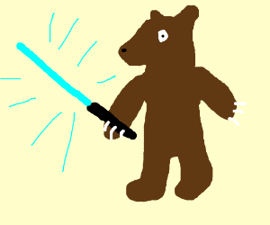Bear humanoid with blue lightsaber