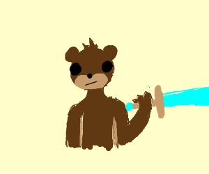 Bear holding a sword