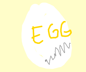 An egg with letters on it