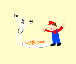 Mario and papyrus eat spaghetti