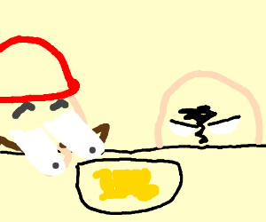 Mario and the Watcher look at scrambled eggs