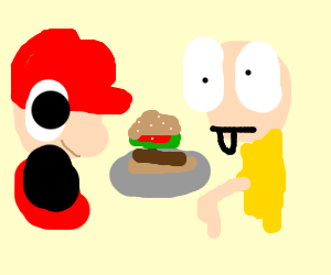 Mario is surprised by food, Saitama is untrust