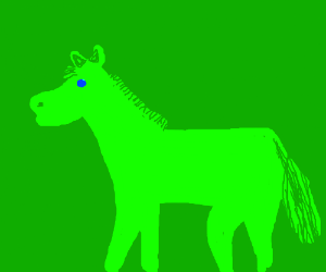Completely green pony