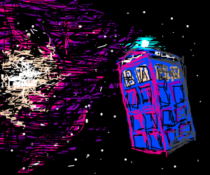 Blue police box in space