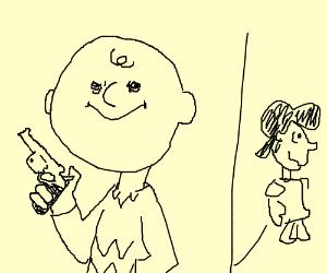 Charlie Brown has had enough (he has a gun)