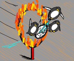 Penguins feel into a burning ring of fire
