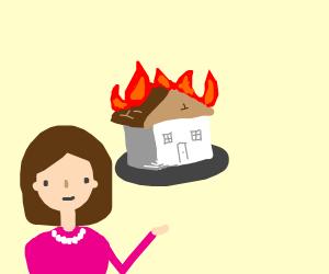 Girl enjoying a house burning