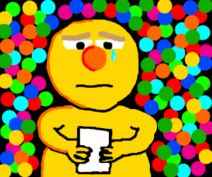 stoned yellow guy crying over his illegibility