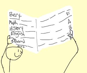 Bert looks at his report card