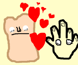 the love story of a bread and a hand with eyes