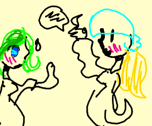 Valley girl talking to green haired girl
