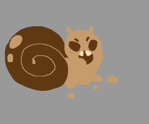 Angry snail with fangs