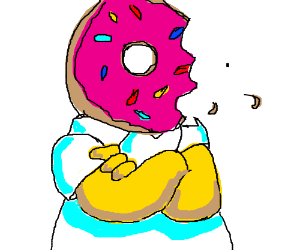 homer simpson with doughnut as head