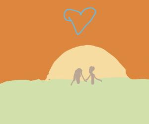 Romantic date under the sunset