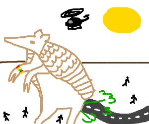 Giant Armadillo with loom bracelet farts a road