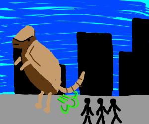 giant armadillo farting on pedestrians