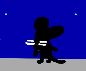 Black rat blue background