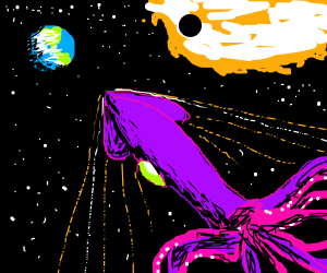 Giant Space Squid Creature Approaches Earth