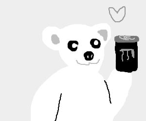 Polar bear loves drinking monster soda