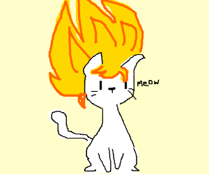 a cat with spiky anime hair drawing by adgkjhiuhdrfunckjbisudhu