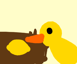 A duck is walking upp to a lemonade stand