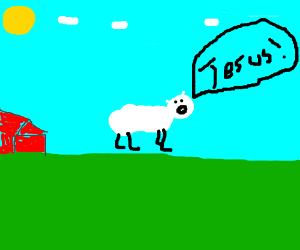 "Scared sheep says ""jesus!"""