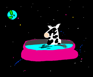 Cow in a Pool in Space