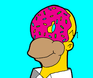 Homer with a literal donut for a face