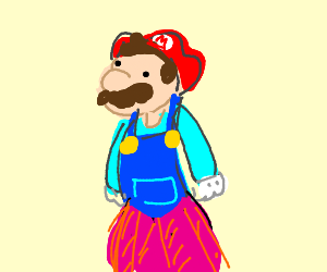 Princess Mario with a dress under his overalls