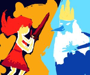 Flame princess vs. Ice king (adventure time)