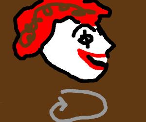 Huge floating Ronald head rotating