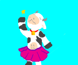Cow in dress and fishnet tights - Drawception