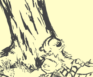 Calvin w/ Hobbes under tree(great drawng btw)