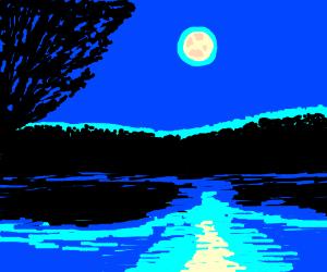 Moon reflection onto lake