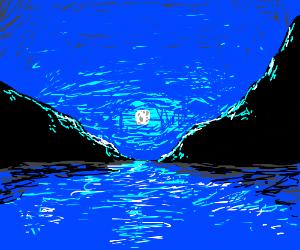 Moon illuminates the lake