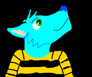 Neon blue anthro wolf in a bee shirt