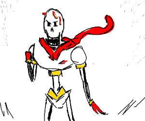 papyrus with bacon on his head
