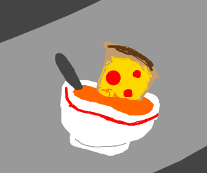 pizza melted into soup