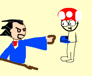 Phoenix Wright mad at a real Mario fan