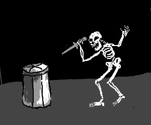 Skeleton threatening a trash can